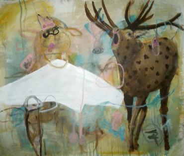 Röhrender Hirsch . 130 x 120 cm