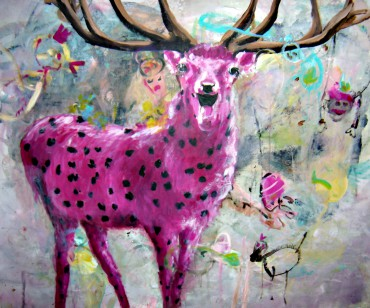 Pink Hirsch . 110 x 130 cm